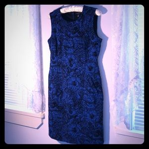 Black Blue Floral Business Cocktail Dress 6P